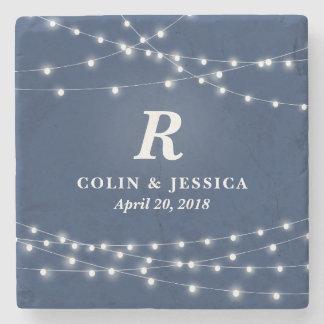String of Lights Monogram Personalized Wedding Day Stone Beverage Coaster