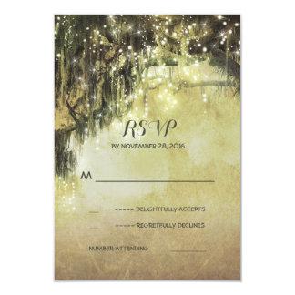String of lights mossy tree rustic wedding RSVP Card