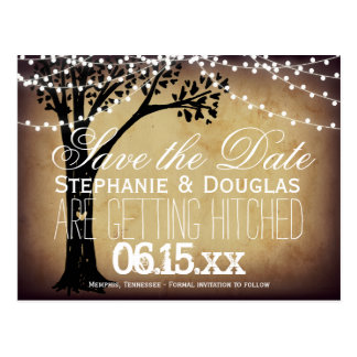 String of Lights Oak Tree Save the Date Postcards