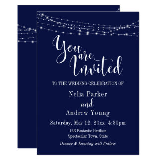 "String of Lights on Navy ""You Are Invited"" Wedding Card"