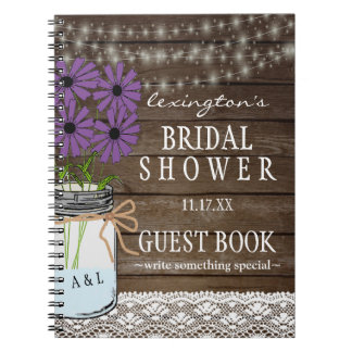 String Of Lights Rustic Bridal Shower Guestbook | Notebooks