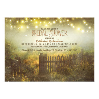 string of lights rustic country bridal shower custom invites