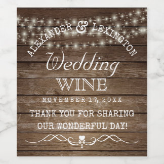 String Of Lights Rustic Country Wedding Bottle Of Wine Label