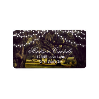 String of Lights Rustic Oak Tree Address Labels
