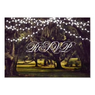 String of Lights Rustic Oak Tree Wedding RSVP Card