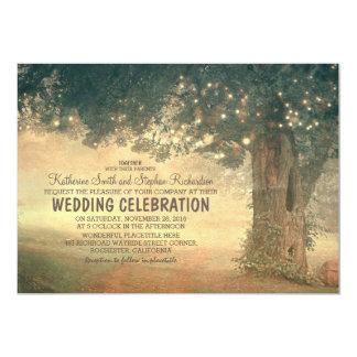"string of lights rustic tree wedding invitation 5"" x 7"" invitation card"