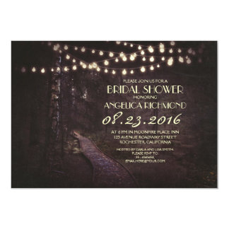 string of lights rustic trees bridal shower 13 cm x 18 cm invitation card
