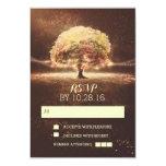 String of lights tree wedding RSVP cards 9 Cm X 13 Cm Invitation Card