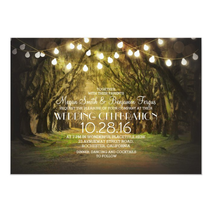 String Lights Rustic Tree : String of Lights Trees Path Rustic Wedding Invites Zazzle