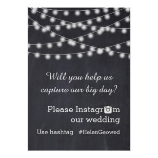 String of lights with Instagram hashtag wedding Poster