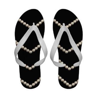 String of Pearls on Black Velvet Image Sandals