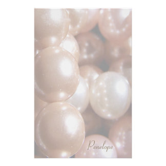 String of Shiny Rose Gold Pearls Add Your Name Stationery