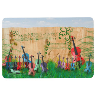 Stringed Instrument Colourful Garden Scene Floor Mat
