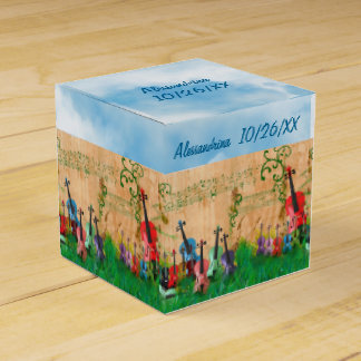 Stringed Instruments Garden Custom Text Wrap-Aroun Wedding Favour Box
