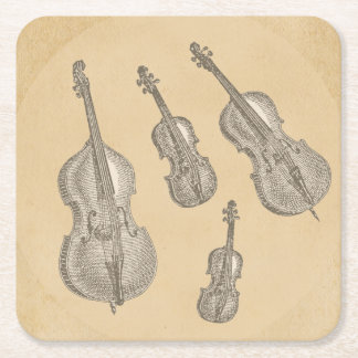 Stringed Instruments Old Line Drawings Square Paper Coaster