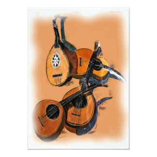 Stringed Musical Instruments in Oil, Blurred Edge Personalized Invitations