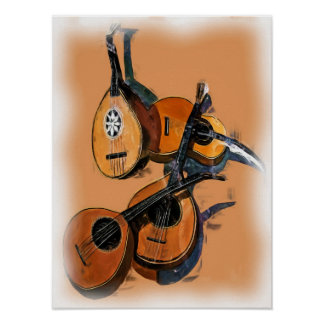 Stringed Musical Instruments in Oil, Blurred Edge Print