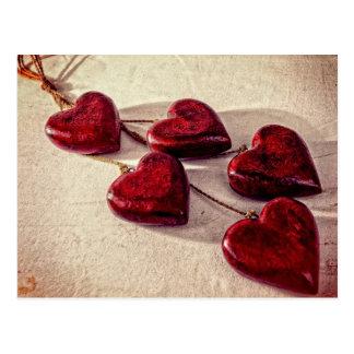 Strings of Hearts Vintage Postcard