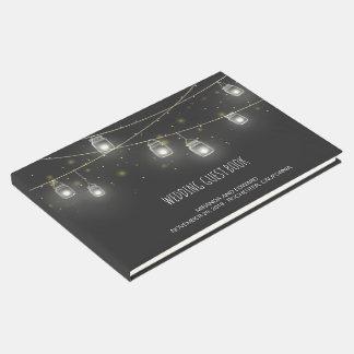 Strings of Mason Jars Fireflies Custom Wedding Guest Book