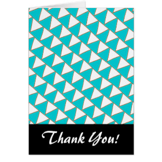 Strings of White Flags Turquoise and White Pattern Note Card