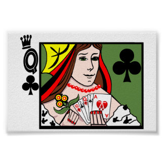 Strip Poker Queen of Clubs Poster
