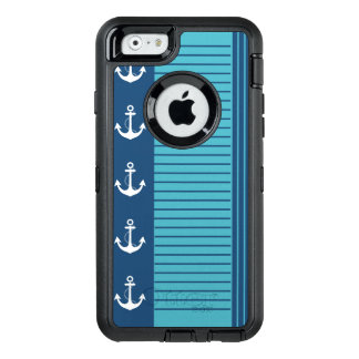 Stripe and Anchor Trendy Nautical Design OtterBox Defender iPhone Case