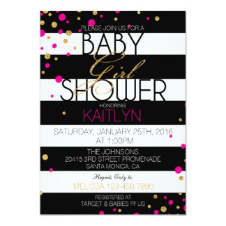 Stripe and Glitter Dots Baby Shower Invitation