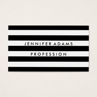 Stripe black and white simple modern business card
