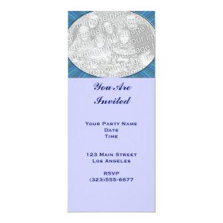 stripe blue frame 10 cm x 24 cm invitation card