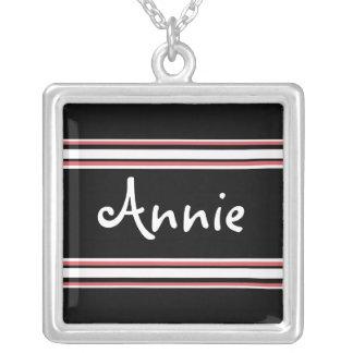 Stripe Design Square Pendant Necklace