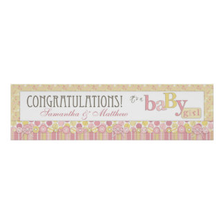 Stripe, Dot, & Diaper Pins Baby Shower Banner Poster