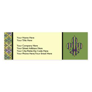 Stripe Mardi Gras Fleur de lis Business Card Templates