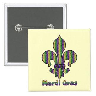Stripe Mardi Gras Fleur de lis Button