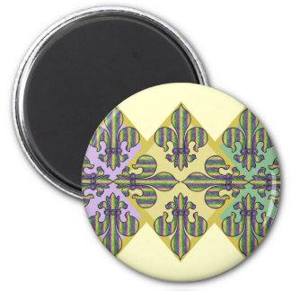 Stripe Mardi Gras Fleur de lis Magnets