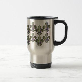 Stripe Mardi Gras Fleur de lis Coffee Mugs