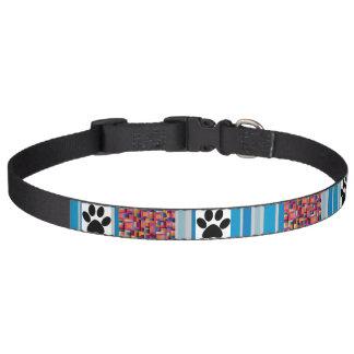 Stripe Multi-Color and Paws Design Dog Collar