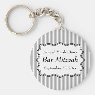 Stripe Pattern Bar Mitzvah Key Chains