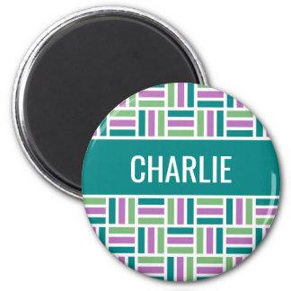 Stripe Pattern custom name magnet