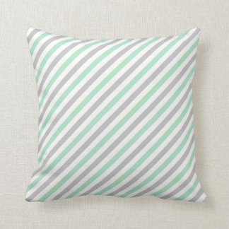 STRIPE PATTERN PILLOW, Mint Green, Gray & White Cushion