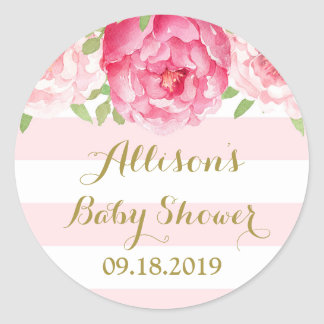 Stripe Pink Blush Floral Baby Shower Favor Tag