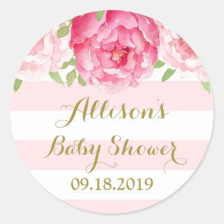 Stripe Pink Blush Floral Baby Shower Favor Tag Round Sticker