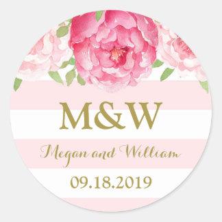 Stripe Pink Floral Monogram Wedding Favor Tag Round Sticker