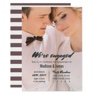 Stripe | plum | Engagement Party Invitations