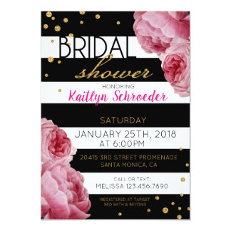 Stripe Roses and Glitter Dots Bridal Shower Card