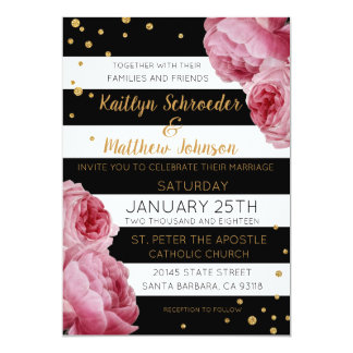 Stripe Roses and Glitter Dots Modern Wedding Card