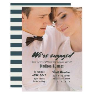 Stripe | sapphire | Engagement Party Invitations
