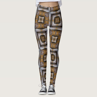 Stripe Square Brown Geometric Leggings