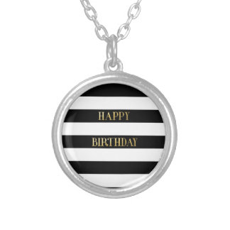 Stripe Wrapping Paper Round Pendant Necklace