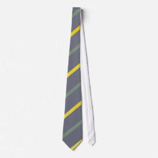 Stripe yellow green on blue Tie