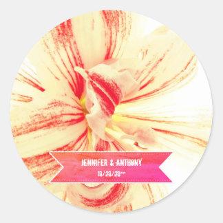 Striped Amaryllis Flower Custom Wedding Classic Round Sticker